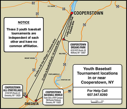 Cooperstown NY Dreams Park Baseball World Map
